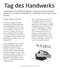 Tag des Handwerks - Magazin handwerk 6/16